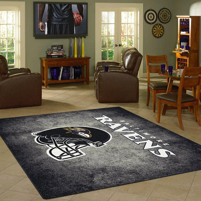 Fan Cave Rugs:Baltimore Ravens Rug Team Distressed