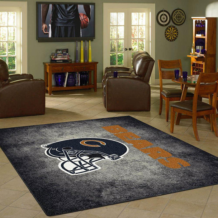 Fan Cave Rugs:Chicago Bears Rug Team Distressed