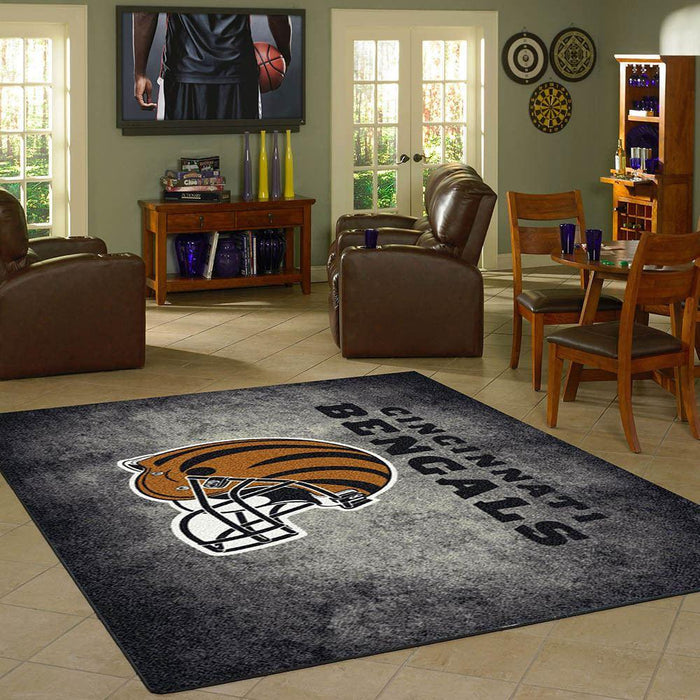 Fan Cave Rugs:Cincinnati Bengals Rug Team Distressed