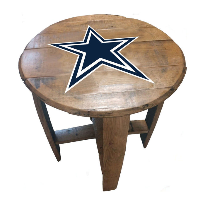 Dallas Cowboys Oak Barrel Table