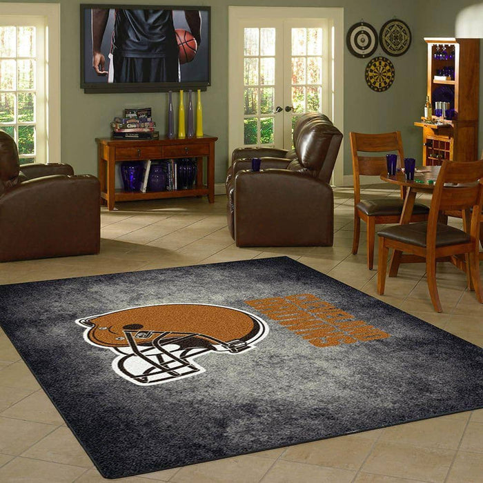 Cleveland Browns Rug Team Distressed From Fan Cave Rugs