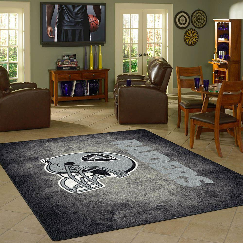 Oakland Raiders Rug Team Distressed From Fan Cave Rugs