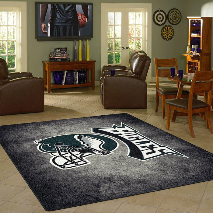 Philadelphia Eagles Rug Team Distressed
