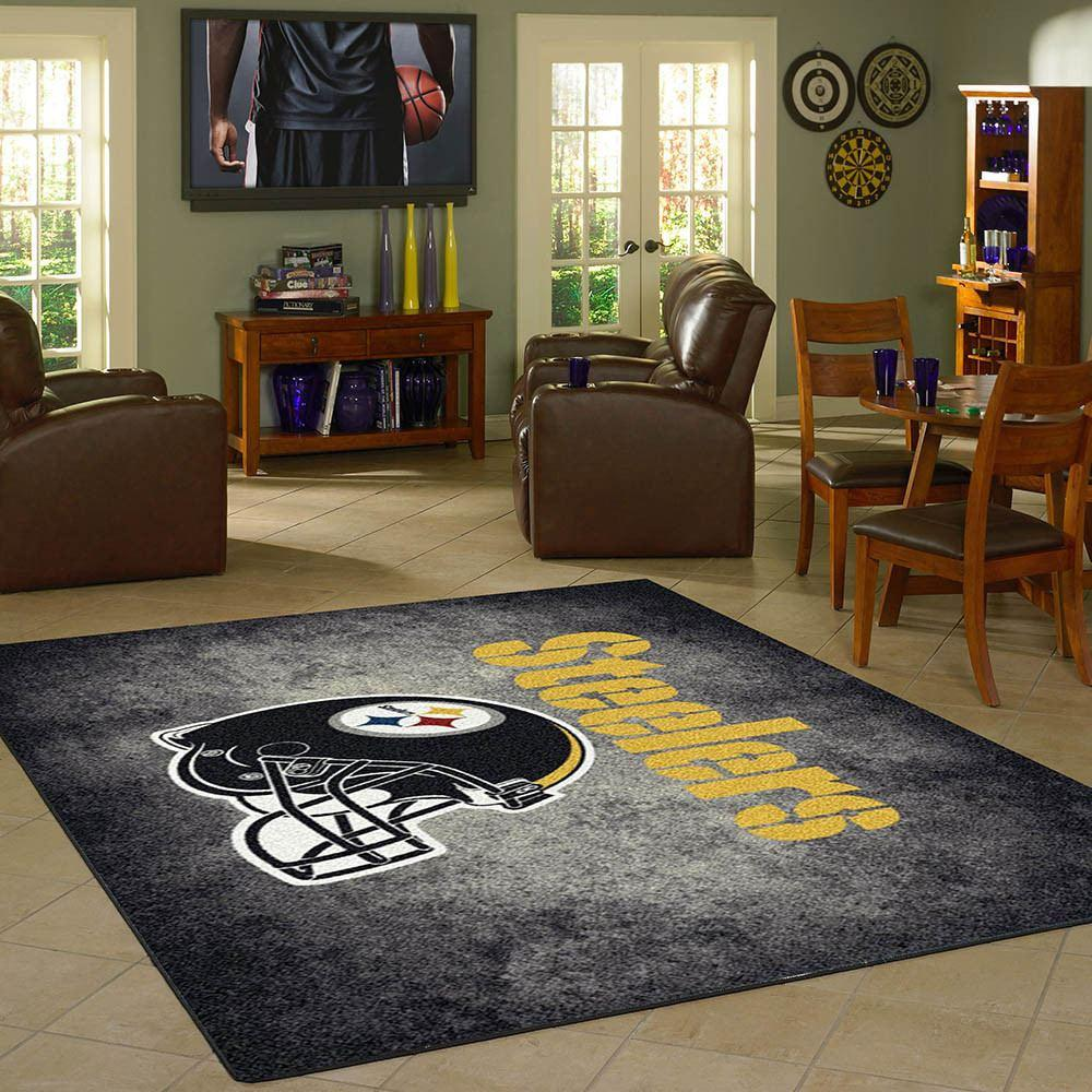 pittsburgh steelers rug team distressed – fan cave rugs