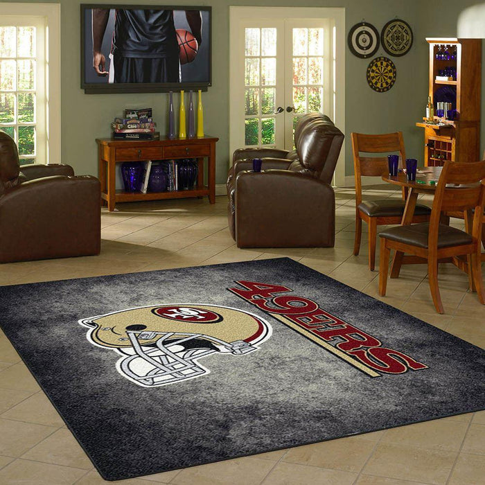 San  Francisco 49ers distressed rug. Fan cave rugs