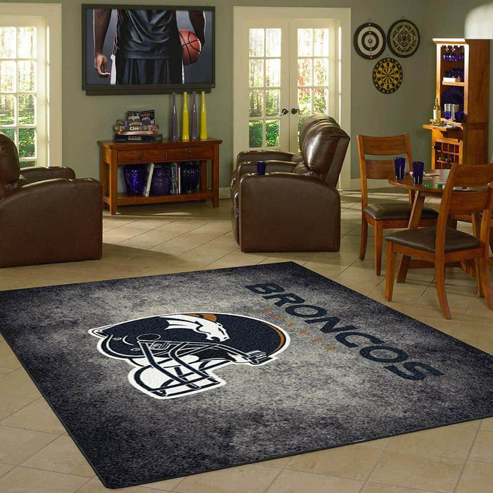 Denver Broncos Rug Team Distressed From Fan Cave Rugs