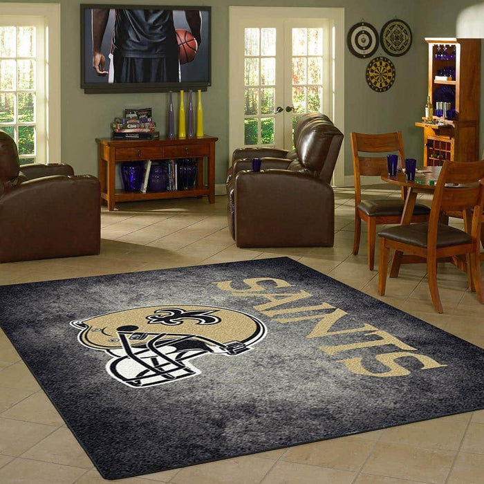 New Orleans Saints Rug Team Distressed From Fan Cave Rugs