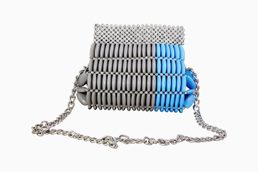 Turquoise Gray Beaded Clutch Bag