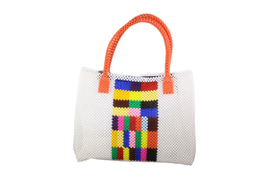 Multicolored with White Border Beaded Bag