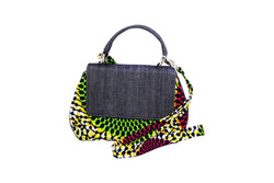 Red and Green Bull Eye Ankara Curve Bag