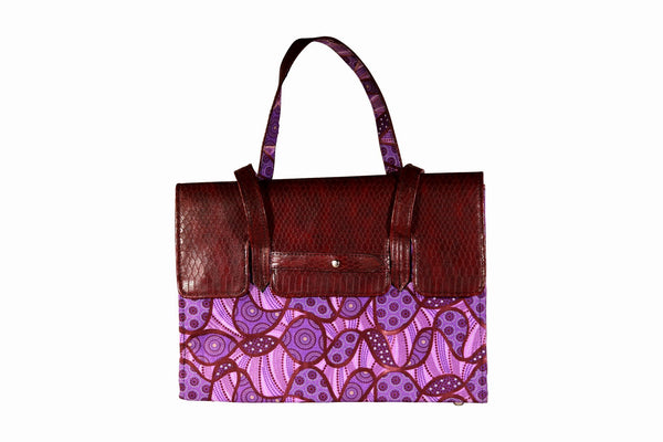 Purple Groove Ankara Leather Flap Bag