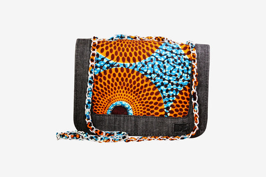 Orange Bulleye Ankara Quilted Bag