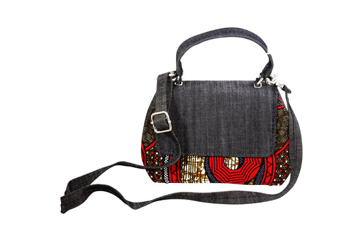 Red Wheel Ankara Curve Bag