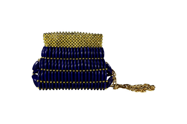 Blue Beaded Clutch Bag
