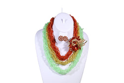 Multi-Colored Rose Net Necklace