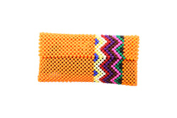 Orange Zig Zag Beaded Wallet