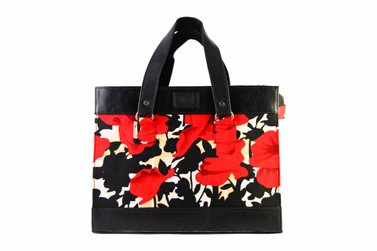 Red Floral Ankara Satchel Bag