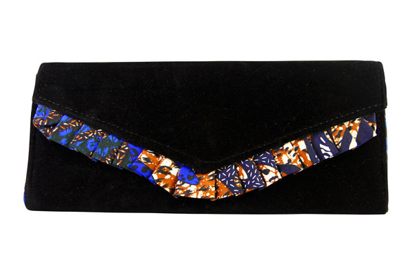 Black Wave Ankara Clutch Purse