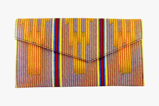 Yellow Path Kente Clutch Purse