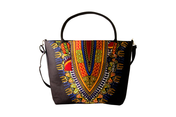 Black Angelina Dashiki Tote Bag