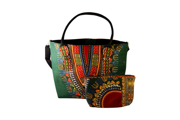 Green Angelina Dashiki Tote Bag