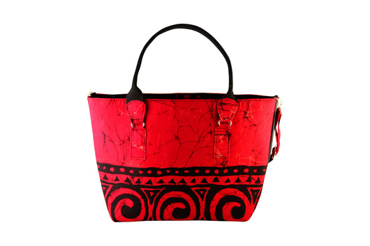 Red Swirl Wax Dye Tote Bag