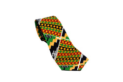 Black Stamp Kente Neck Tie Pocket Square Set