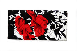 Red Floral Ankara Clutch Purse