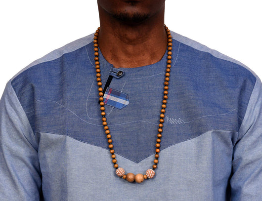 JIDE Gear African Wood Necklace Brown Terra Cotta