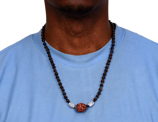 Jide Gear African Wood Necklace Flame Terra Cotta