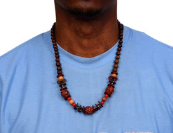 African Wood Necklace Flame