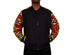 Kente Arm Black Blend Men's Bomber Jacket