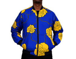 Blue Floral Ankara Men's Bomber Jacket
