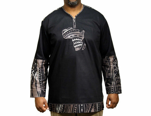 Jide Gear Blackgroove African Map Native Shirt Long Sleeve Front