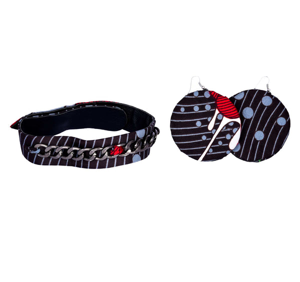 Jide Gear Black Ankara Choker Moon Earrings