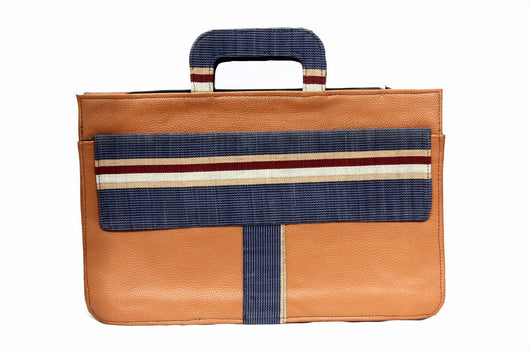 Jide Gear Bluebar Laptop Aso Oke Bag Front