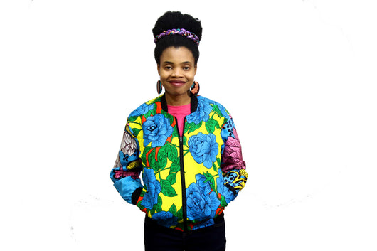 Jide Gear Bluefloral Ankara Female Bomber Jacket Front