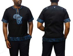 Bluegroove African Map Native Shirt Short Sleeve Black