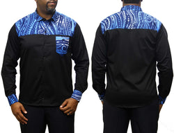 Bluesplash Ankara Button Up Shirt Long Sleeve Black