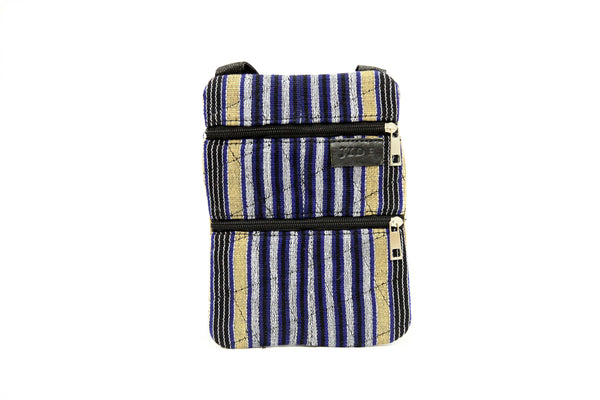 Jide Gear Bluestripes Slim Crossbody Aso Oke Pouch Front