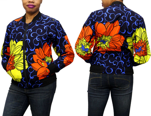 Blue Wave Ankara Women's Bomber Jacket