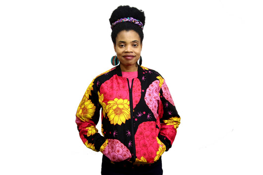 Jide Gear Brightfloral Ankara Female Bomber Jacket Front