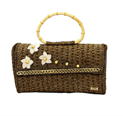 Jide Gear Brownflower Handbag Crochet Bag Front