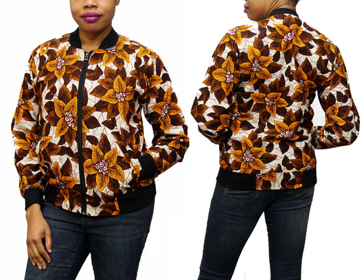 Brownleaf Ankara Women's Bomber Jacket