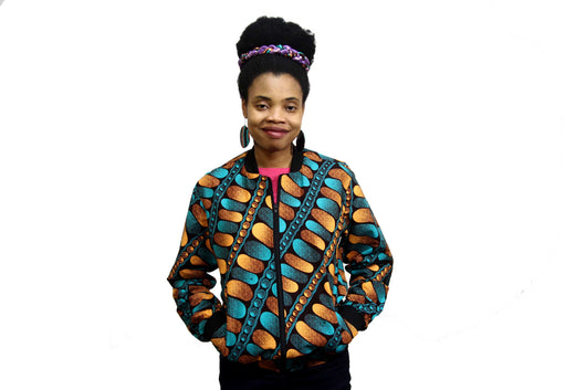 Jide Gear Bubble Ankara Female Bomber Jacket Front