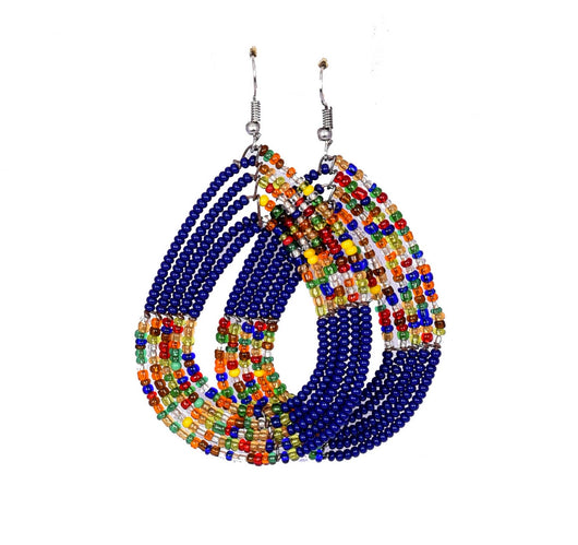 Jide Gear Dark Blue Multicolor Beaded Earrings