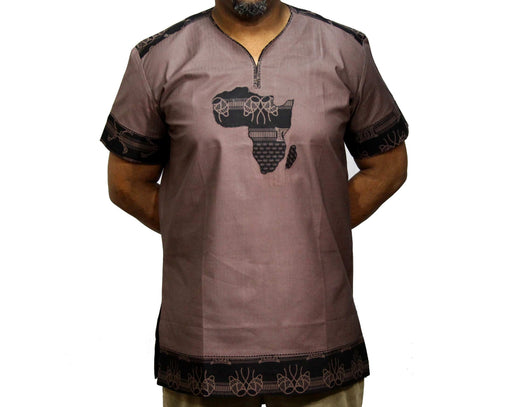 Jide Gear Drumgroove African Map Native Shirt Short Sleeve Brown Front