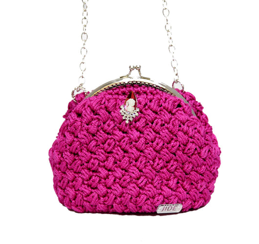 Jide Gear Fuchsia Bowl Crochet Bag Front