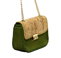 Jide Gear Green Leather Cork Crochet Bag Side