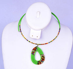 Jide Gear Green Multicolor Beaded Necklace